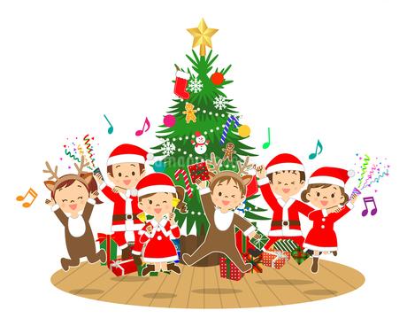 クリスマスツリーの前でジャンプする子供たちのイラスト素材 [FYI03420896]