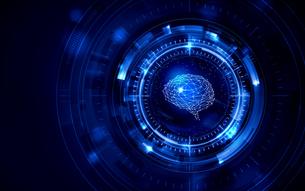 イラスト素材: 脳と人工知能イメージ素材青ブルー、AIのイラスト素材 [FYI03421060]