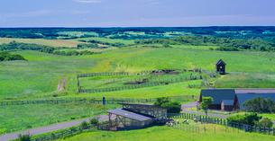 北海道 自然 風景 パノラマ 牧草地と青空の写真素材 [FYI03421358]