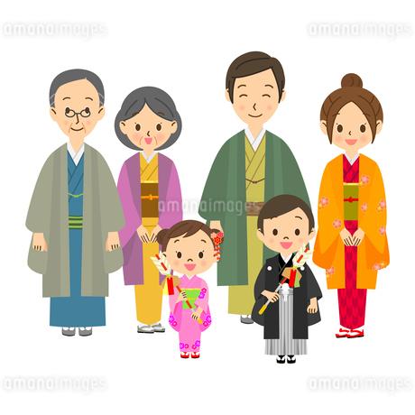 >着物を着た三世代家族のイラスト素材 [FYI03421428]