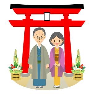 初詣をするシニア男女のイラスト素材 [FYI03421433]