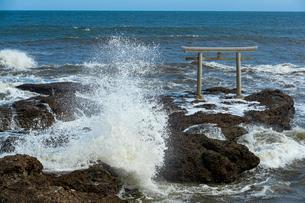 大洗海岸に砕ける荒波と神磯鳥居の写真素材 [FYI03421579]