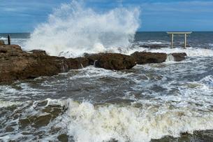 大洗海岸に砕ける荒波と神磯鳥居の写真素材 [FYI03421583]