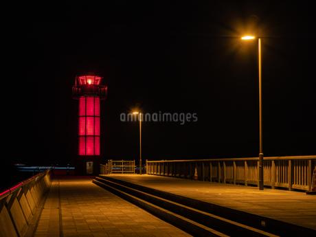 香川県の高松港玉藻防波堤灯台の夜景の写真素材 [FYI03421646]