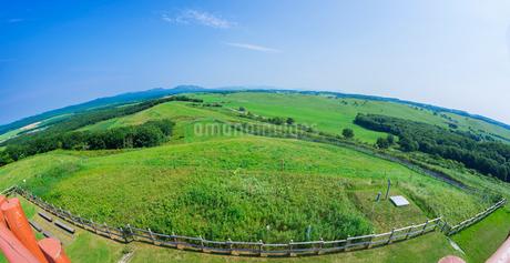 北海道 自然 風景 パノラマ 牧草地と青空の写真素材 [FYI03421861]