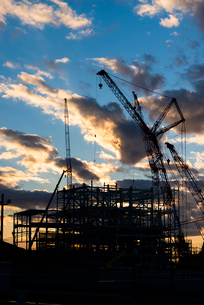 建設途中の火力発電所の写真素材 [FYI03421902]