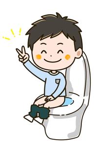 トイレに座る男の子 ポーズ イラストのイラスト素材 [FYI03422055]