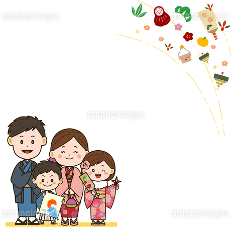 着物姿の家族 お正月フレーム イラストのイラスト素材 [FYI03422058]