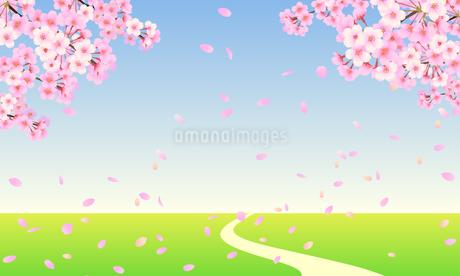 桜の木と草原のイラスト素材 [FYI03422129]