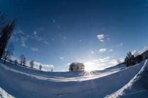 夕日が沈む冬の丘 美瑛町の写真素材 [FYI03422326]