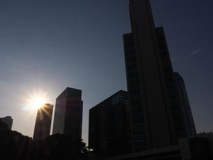夕陽に照らされた高層ビル群の写真素材 [FYI03422409]