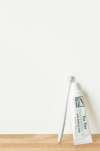白い壁に立てかけられた歯ブラシと歯磨き粉の写真素材 [FYI03422921]