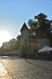 エストニアの世界遺産の歴史地区のタリンの旧市街と新市街の間に位置するヴィル門・旧市街は世界遺産の写真素材 [FYI03423140]