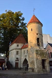 エストニアの世界遺産の歴史地区のタリンの旧市街と新市街の間に位置するヴィル門・旧市街は世界遺産の写真素材 [FYI03423143]