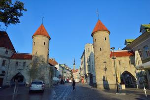 エストニアの世界遺産の歴史地区のタリンの旧市街と新市街の間に位置するヴィル門から見える旧市街の尖塔・旧市街は世界遺産の写真素材 [FYI03423144]