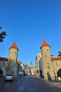 エストニアの世界遺産の歴史地区のタリンの旧市街と新市街の間に位置するヴィル門から見える旧市街の尖塔・旧市街は世界遺産の写真素材 [FYI03423146]