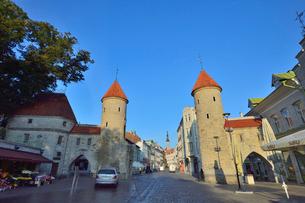エストニアの世界遺産の歴史地区のタリンの旧市街と新市街の間に位置するヴィル門から見える旧市街の尖塔・旧市街は世界遺産の写真素材 [FYI03423147]