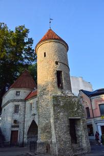 エストニアの世界遺産の歴史地区のタリンの旧市街と新市街の間に位置するヴィル門・旧市街は世界遺産の写真素材 [FYI03423151]