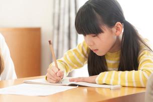 リビング学習をする小学生の写真素材 [FYI03423779]