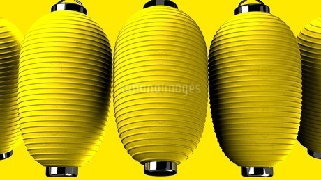 Yellow paper lanterns on yellow backgroundのイラスト素材 [FYI03423973]