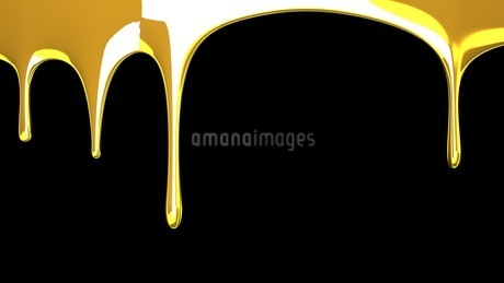 Gold liquid on black backgroundのイラスト素材 [FYI03423977]