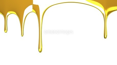 Gold liquid on white backgroundのイラスト素材 [FYI03423988]
