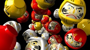 Daruma dolls on black backgroundのイラスト素材 [FYI03424007]
