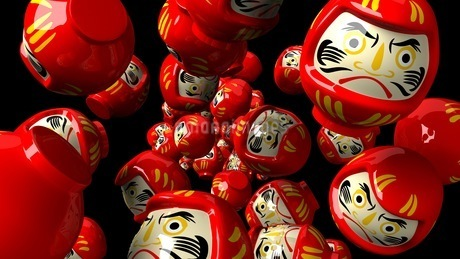 Red daruma dolls on black backgroundのイラスト素材 [FYI03424009]
