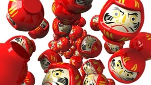 Red daruma dolls on white backgroundのイラスト素材 [FYI03424010]