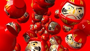 Red daruma dolls on red backgroundのイラスト素材 [FYI03424011]