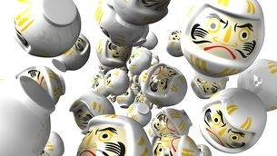 White daruma dolls on white backgroundのイラスト素材 [FYI03424012]