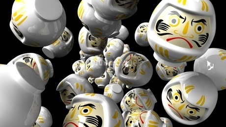 White daruma dolls on black backgroundのイラスト素材 [FYI03424013]