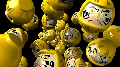 Yellow daruma dolls on black backgroundのイラスト素材 [FYI03424014]