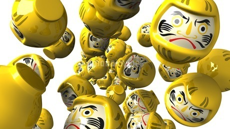 Yellow daruma dolls on white backgroundのイラスト素材 [FYI03424016]