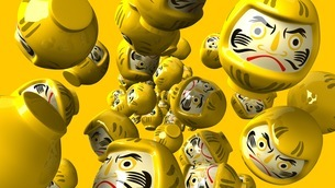 Yellow daruma dolls on yellow backgroundのイラスト素材 [FYI03424021]