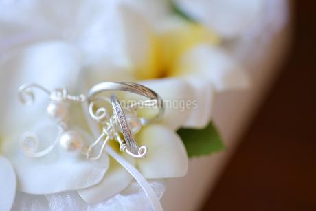 リングピローに乗ってる結婚指輪のアップの写真素材 [FYI03424028]