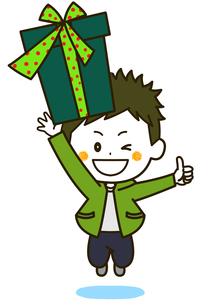 プレゼントを持って飛び跳ねる男の子 ポーズ イラストのイラスト素材 [FYI03424109]