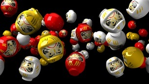 Daruma dolls on black backgroundxのイラスト素材 [FYI03424478]