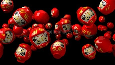 Red daruma dolls on black backgroundのイラスト素材 [FYI03424483]
