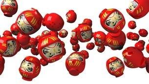 Red daruma dolls on white backgroundのイラスト素材 [FYI03424486]