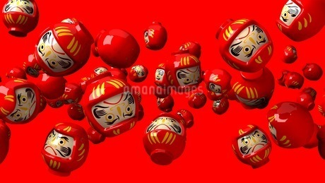 Red daruma dolls on red backgroundのイラスト素材 [FYI03424489]