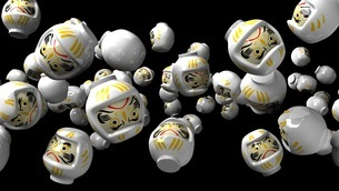 White daruma dolls on black backgroundのイラスト素材 [FYI03424494]