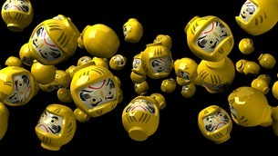 Yellow daruma dolls on black backgroundのイラスト素材 [FYI03424496]