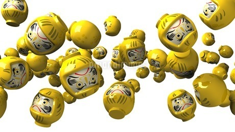 Yellow daruma dolls on white backgroundのイラスト素材 [FYI03424498]