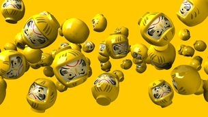 Yellow daruma dolls on yellow backgroundのイラスト素材 [FYI03424500]