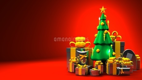 Christmas tree and gift boxesのイラスト素材 [FYI03424659]
