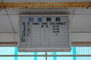 廃線跡 旧広尾線広尾駅(時刻表)の写真素材 [FYI03425917]