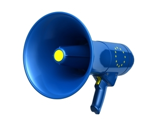 EU国旗のメガホンのイラスト素材 [FYI03426594]