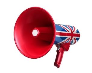 英国国旗のメガホンのイラスト素材 [FYI03426596]