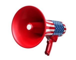 米国国旗のメガホンのイラスト素材 [FYI03426597]